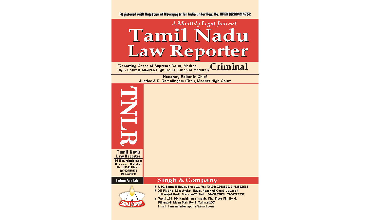 Tamil Nadu Law Reporter (online law journal) Yearly Subscription for Year 2019